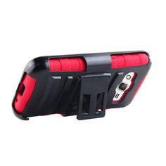 SAMSUNG GALAXY CORE PRIME/G360,BLACK/RED HYBRID RUGGED PLASTIC BELT CLIP CASE