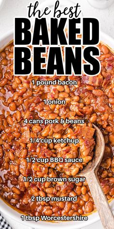 Canned Baked Beans, Best Baked Beans, Homemade Baked Beans, Easy Recipe For Baked Beans, Molasses Baked Beans Recipe, Recipes With Baked Beans, Bacon Baked Beans, Easy Bbq Baked Beans Recipe, Baked Beans In Oven