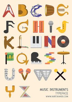 Music Instruments typeface by tikatikutiko, via Flickr