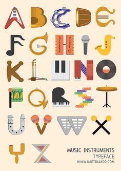 Music Instruments typeface by tikatikutiko, via Flickr