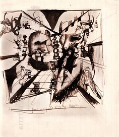 """Marcel Duchamp, Study for """"Portrait of Chess Players"""", October 1911. Brown ink with watercolor wash on writing paper, 8 3/8 x 7 1/4 inches (21.2 x 18.4 cm)"""
