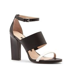 Sole Society - Colorblock leather heels - Ina - Black Winter White