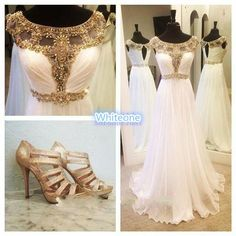 2016 Luxury Beaded Bridal Evening Dresses Cap Sleeves Keyhole Back Floor Long White Chiffon Prom Occasion Gown For Hot Arabic Women Vestidos Dresses For Special Occasions Formal Dress For Women From Whiteone, $131.68| Dhgate.Com
