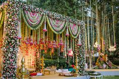 This gorgeous floral mandap is to swoon over for, it's a perfect fusion of fresh pastel hues and traditional techniques. For bookings contact us on : 9819360369 Indian Wedding Theme, Desi Wedding Decor, Wedding Mandap, Indian Weddings, Rustic Weddings, Outdoor Weddings, Romantic Weddings, Wedding Events, Hindu Weddings