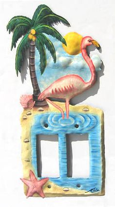 Tropical Flamingo Rocker Light Switch Plate Cover - Hand Painted Metal Switch - Handcrafted in Haiti - Recycled steel oil drums - by SwitchPlateDecor on Etsy Decorative Light Switch Covers, Switch Plate Covers, Light Switch Plates, Art Tropical, Tropical Design, Tropical Birds, Painted Metal, Hand Painted, Flamingo Painting