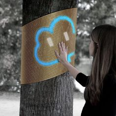 """Tree Voice-Austin  What if trees could talk? That's sort of the idea behind Tree Voice, a wearable for nature.  –        Its sensors collect data on the environment like noise, temperature, and pollution. And it """"sparks"""" to life with motion sensors and a display for passersby"""