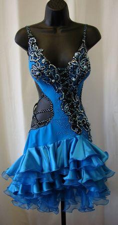 vestido bailes de salón latino color azul Lenique Latin Ballroom Dress #ballroomdress #ballroomdance #bailesdesalon #vestido