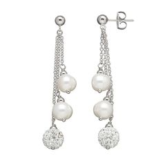 Freshwater by HONORA Freshwater Cultured Pearl & Crystal Linear Drop Earrings - Made with Swarovski Cubic Zirconia
