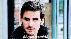 Devilish smirk, Captain Hook. Killian Jones. Colin O'Donoghue.