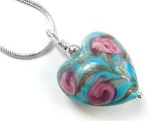 Murano Glass Heart Pendant Necklace - Gold & Blue Flower Pattern Heart Pendant Necklace, Murano Glass, Sterling Silver Chains, Flower Patterns, Blue Flowers, Hearts, Rose, Flower Drawings, Pink