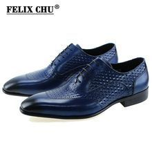 Felix Chu 2018 Luxury Italian Style Genuine Leather Men Yellow Oxfords With Wingtip Detail Lace Up Party Office Male Dress Shoes Beneficial To The Sperm Men's Shoes