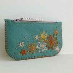 Night Garden Hand Embroidered Wool Felt Coin Purse or iPhone Cozy