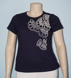 Talbots NWT XLp XL Blue w/ White Graphic Embellishment S/S Knit Top Tee Shirt #Talbots #KnitTop #Casual