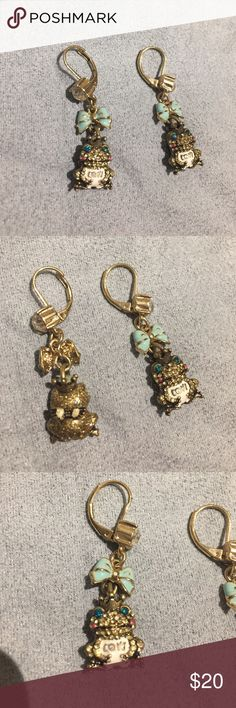 Betsy Johnson Frog Prince Earrings There's Betsy Johnson earrings are just adorable! NEVER WORN! Includes a light blue bow, crown for the frog, and little wings on the back! Betsey Johnson Jewelry Earrings
