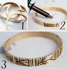 Handmade wooden bangles from little embroidery hoops! Love this crafty idea by Alisa Burke!
