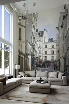 Deceptive {street and buildings} scenery wall in living room
