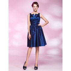A-line Knee-length Taffeta Cocktail Dress With Notched Neckline – US$ 99.99