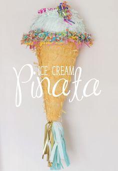 DIY Ice Cream Cone Pinata. Love the mint color and tassels!