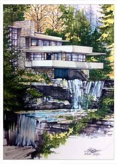 Frank lloyd Wright Falling water house Draw by btvh
