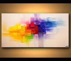 Original Contemporary modern Abstract Painting On Canvas Colorful Palette Knife by Osnat 48x24