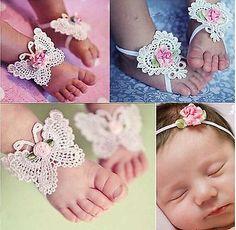 Lindo Pie Flor Sandalias Descalzas Y Mariposa Diadema Set Bebés Niña Bebé