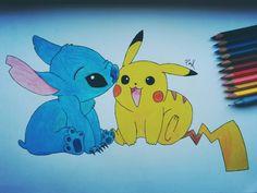 It's completed  Stitch & Pikachu ✏ #pikachu #stitch #pikachuandstitch #pokemon #liloandstitch #kawaii #friendship #true #love #bestfriendsforever #BFF #cute #ilovetheir #draw #drawing #art #paper #painting #blackandwhite #colour #yellowandblue