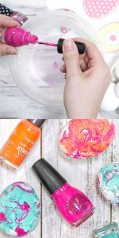 Marbled Easter Eggs - Kids Craft Videos - How to make super bright marbled Easter eggs with nail polish - Kids Nail Polish, Nail Polish Crafts, Nail Polish Slime, Gel Nails, Acrylic Nails, Diy And Crafts Sewing, Crafts To Sell, Arts And Crafts, Fabric Crafts