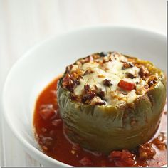 Stuffed Peppers are a great Crock Pot meal...give them a Southwestern twist and you have a new favorite recipe! http://FourSeasonGourmet.com/crock-pot-stuffed-peppers/ #crockpot  #peppers