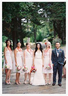 layered coral bridesmaid necklaces / @Christine Martinez wedding