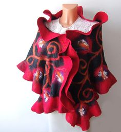 Nuno Felted scarf   ruffle collar stole Red and Black. $89.00, via Etsy.