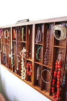 Printer tray jewelry organizer