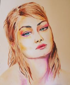Gigi Hadid watercolor portrait by Suzan Sümer Digital Portrait, Watercolor Portraits, Gigi Hadid, My Arts, Photo And Video, Painting, Instagram, Painting Art, Paintings