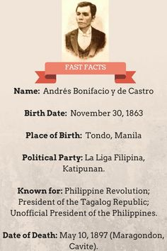 In celebration of Andres Bonifacio's heroism, we're giving you some of the lesser-known facts about his interesting life that forever changed our history. Filipino Quotes, President Of The Philippines, Facts You Didnt Know, Political Party, Filipina, History Facts, Revolutionaries, Fun Facts, Presidents