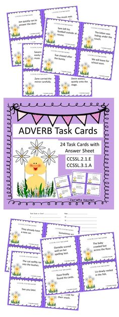 This is the ADVERB tool you've needed!! This is a set of twenty-four task cards for adverbs. Students read the sentence on the task cards, decide which word is the adverb, and record the answer on the answer document. These can be used as a Literacy Center or as cards to play the game Scoot. Each card features a Spring theme.