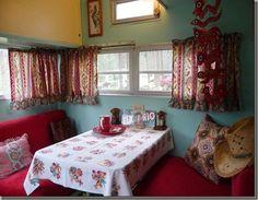 red and aqua vintage trailer interior