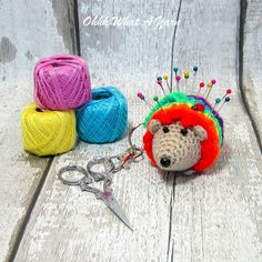 Crochet rainbow hedgehog decoration, scissor keeper, pin cushion, bag charm. £10.00 Crochet Gifts, Crochet Hooks, Look After Yourself, Pin Cushions, Rainbows, Unicorns, Scissors, Ladybug, Hedgehog