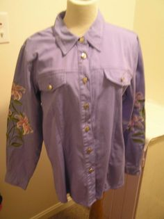 Bob Mackie Embroidered Blouse/Jacket Lilac Size L  Long Sleeve Floral Lilies  #BobMackieWearableArt #Blouse #versatile