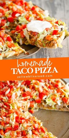 This easy homemade Taco Pizza is a family. This easy homemade Taco Pizza is a family friendly dinner recipe with delicious Mexican flavors topped with beef refried beans fresh vegetables and salsa. Taco Pizza Recipes, Mexican Food Recipes, Beef Recipes, Cooking Recipes, Chicken Recipes, Recipes With Refried Beans, Healthy Pizza Recipes, Easy Dinner Recipes, Easy Meals