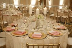 The Ballantyne Hotel, Carolina Wedding Design, Blush, gold, ivory with candles, gold chaivari chairs, cream textured linens, ivory and blush...