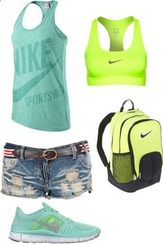 Totally my sporty chic style Jean shorts tank sneakers backpack  Perfect for a summer day at the amusement park