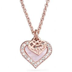 Coach Mother Of Pearl Heart Necklace ($88) ❤ liked on Polyvore featuring jewelry, necklaces, accessories, colar, collares, heart chain link necklace, collar necklace, filigree heart necklace, collar jewelry and mother of pearl necklace