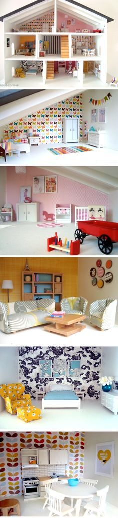 Super cute doll house; scrapbook paper as wallpapers.