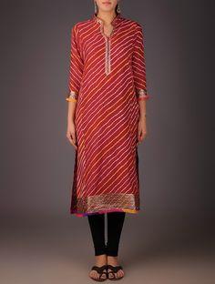 Red-Golden Maheshwari Leheriya Gota Embellished Kurta with Lining Silk Kurti Designs, Salwar Neck Designs, Neck Designs For Suits, Kurta Designs Women, Collar Kurti Design, Bandhani Dress, Suits For Women, Clothes For Women, Indian Kurta