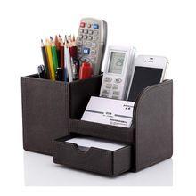 Fa bőr multifunkciós asztal írószer szervező tároló doboz toll toll doboz tartó…