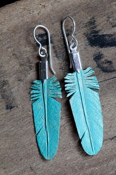 hand carved leather feather earrings