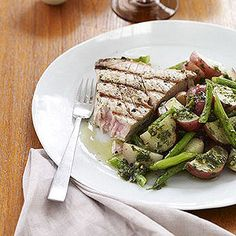 Grilled Tuna Steaks with Potato Green Bean Salad -- an elegant play on a Nicoise salad