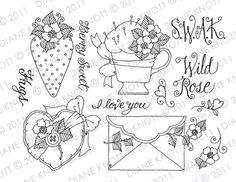 Digital Stamp / Embroidery Pattern - Sealed With a Kiss