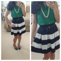 Striped skirt and emerald green