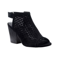 Women's Isola Lora Perforated Slingback (985 SEK) ❤ liked on Polyvore featuring shoes, sandals, black, casual, heels, black sandals, black heeled sandals, high heeled footwear, summer sandals and black block heel sandals