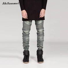 Streetwear Mens Ripped Biker Jeans Homme Men's Fashion Motorcycle Slim Fit Grey Justin Bieber Moto Denim Pants Jogger Skinny Men